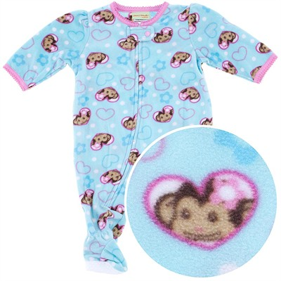 Blue Monkey Footed Pajamas for Infant and Toddler Girls