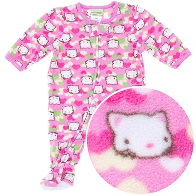 Pink Cat Footed Pajamas for Infant Girls