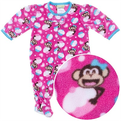 Pink Monkey Footed Pajamas for Infant and Toddler Girls