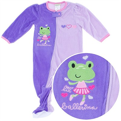 Purple Ballerina Footed Pajamas for Infant and Toddler Girls