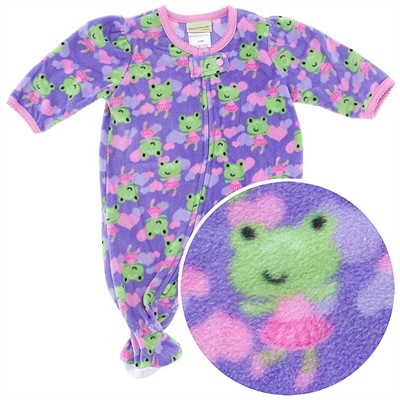 Purple Frog Footed Pajamas for Infant and Toddler Girls