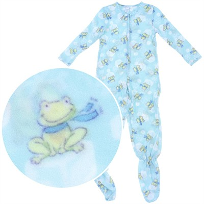 Blue Frog Footie Pajamas for Girls