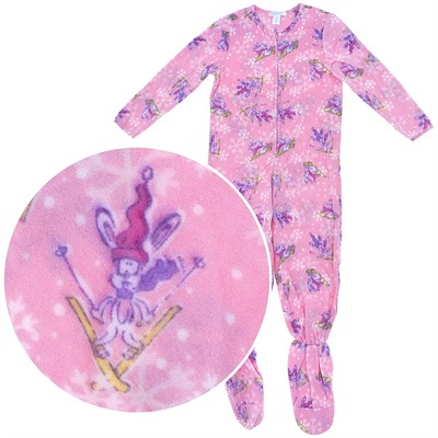 Pink Snow Bunny Footed Pajamas for Girls