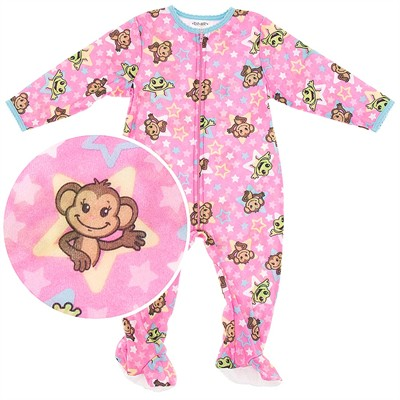 Pink Monkey Footie Pajamas Toddler Girls