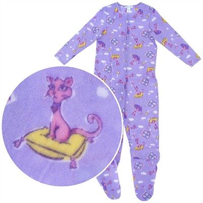 Purple Cat Footed Pajamas for Girls