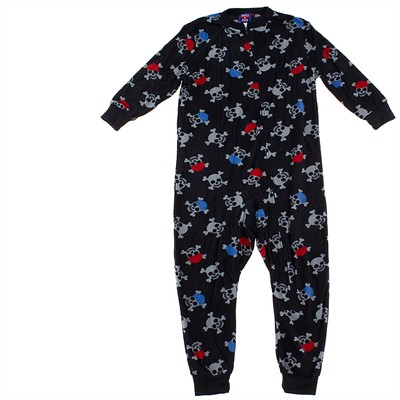 Black Skull Footless Sleeper Pajamas for Boys