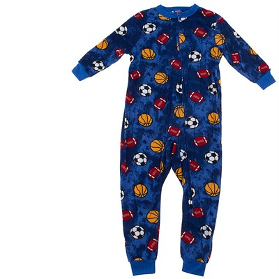 Blue Sports Ball Footless Sleeper for Boys