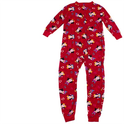 Red Penguin Footless Sleeper for Girls