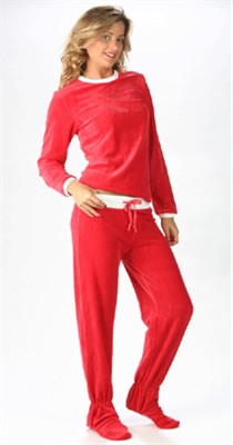 Footzies Red Footed Pajamas for Women