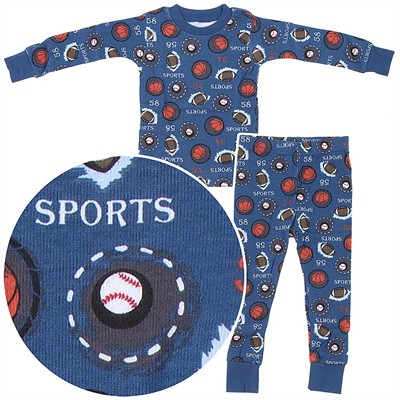 Frandas Blue Cotton Sports Pajamas for Toddler Boys