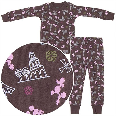 Frandas Brown Cotton French Poodle Pajamas for Toddler Girls