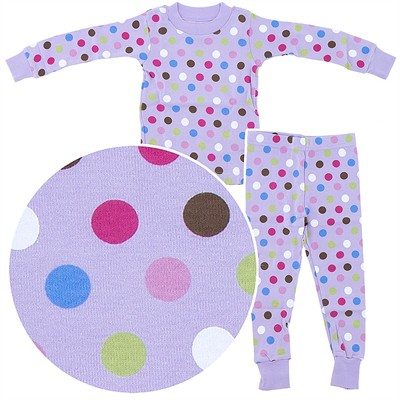 Frandas Purple Polka Dot Cotton Pajamas for Toddler Girls