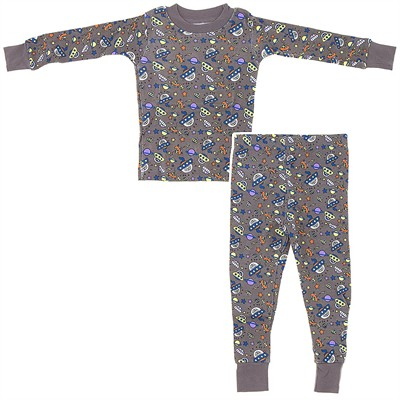 Frandas Gray Cotton Space Ship Pajamas for Toddler Boys