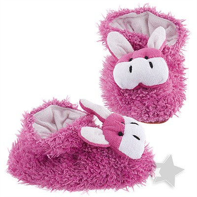 Fuchsia Cow Slippers for Infants
