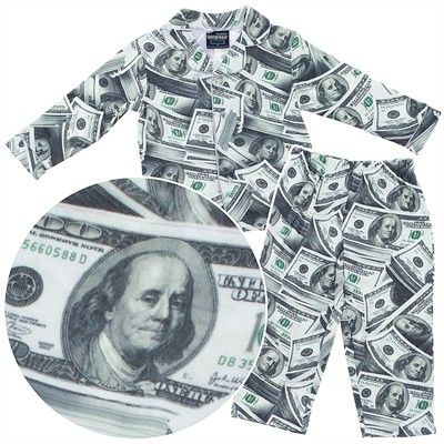FunKidz Money Print Coat-Style Pajamas for Boys