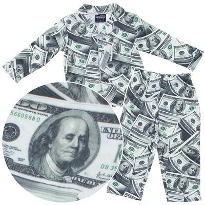 FunKidz Money Print Coat-Style Pajamas for Boys
