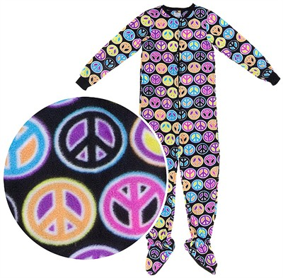 Fun Footies Peace Sign Pajamas for Adults
