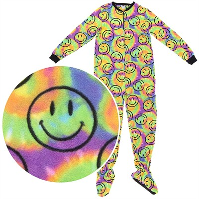 Fun Footies Tie Dye Smiley Pajamas for Adults