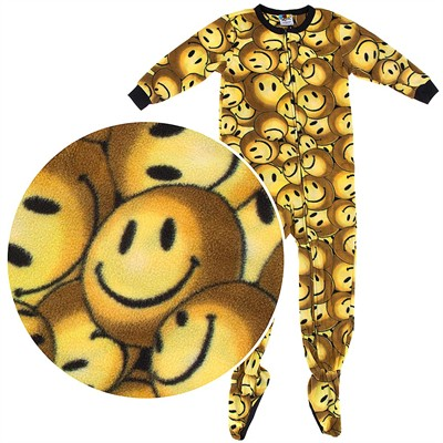 Fun Footies Yellow Smiley Pajamas for Adults