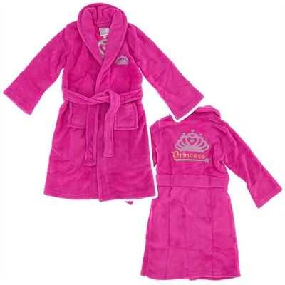 Fuchsia Princess Crown Plush Bath Robe for Girls