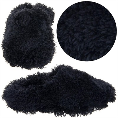 Black Fuzzy Slippers for Women