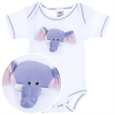 Ganz Onesie with Plush Elephant Face for Baby Boys