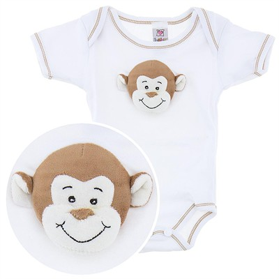 Ganz Onesie with Plush Monkey Face for Baby Boys