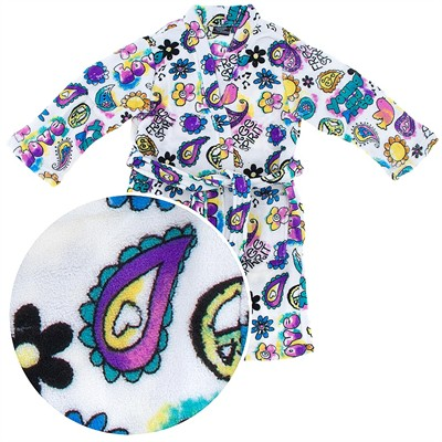 White Hippie Print Plush Bathrobe for Girls