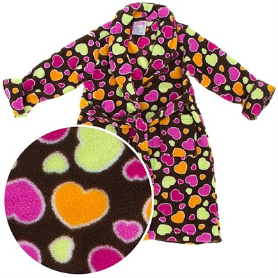 Brown Colorful Heart Plush Bath Robe for Girls