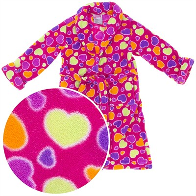 Pink Colorful Heart Plush Bath Robe for Girls