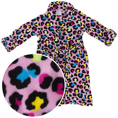 Pink Leopard Plush Bath Robe for Girls