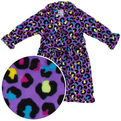 Purple Leopard Plush Bath Robe for Girls
