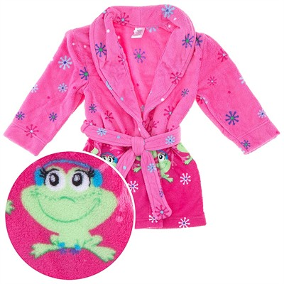 Pink Frog Plush Bathrobe for Girls