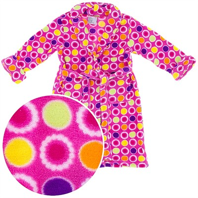 Pink Polka Dot Plush Bath Robe for Girls