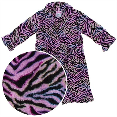 Pink Zebra Plush Bath Robe for Girls