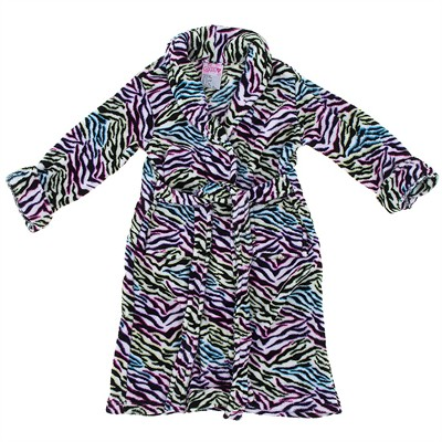 White Zebra Plush Bath Robe for Girls