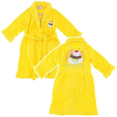 Yellow Cupcake Plush Bathrobe for Girls