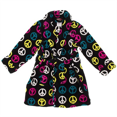 Black Peace Plush Bathrobe for Girls