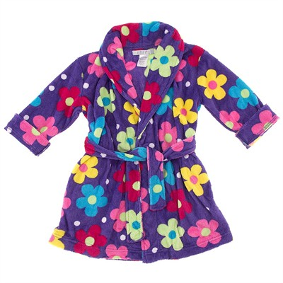 Purple Floral Plush Bathrobe for Girls