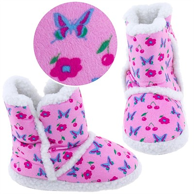 Pink Butterfly Bootie Slippers for Toddlers and Girls