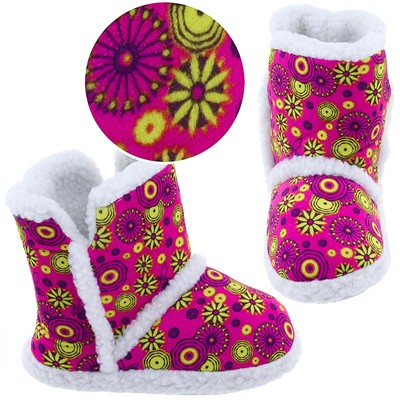 Hot Pink Floral Bootie Slippers for Toddlers and Girls