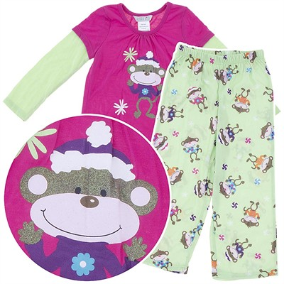 Pink and Green Holiday Monkey Pajamas for Girls