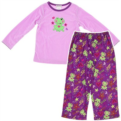 Purple Frog Fleece Pajamas for Girls