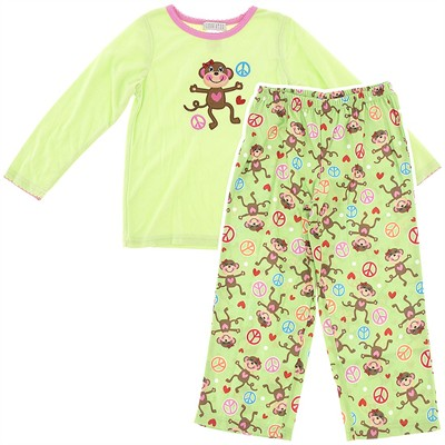 Green Monkey Fleece Pajamas for Girls