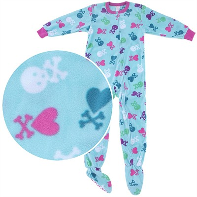 Blue Skull Footed Pajamas for Girls