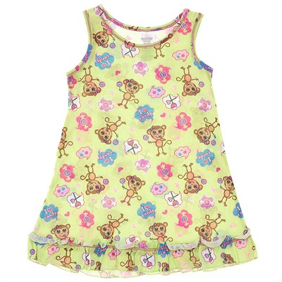 Green Monkey Nightgown for Girls