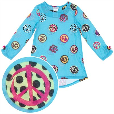 Blue Peace Sign Nightgown for Girls