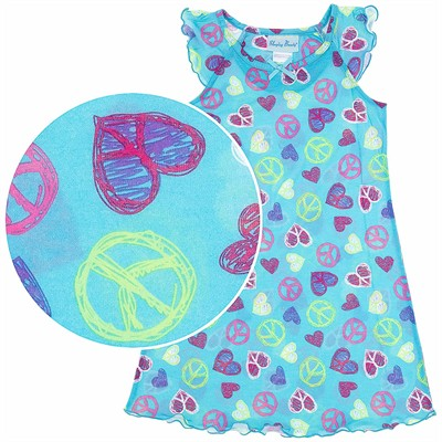 Aqua Sketchy Hearts Nightgown for Girls
