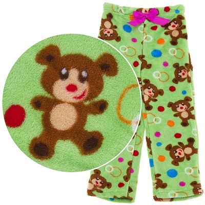 Green Teddy Bear Plush Pajama Pants for Girls
