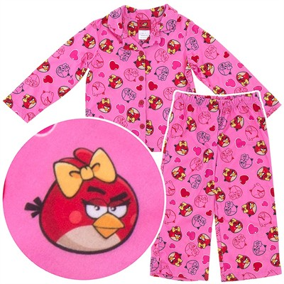 Angry Birds Pink Coat-Style Pajamas for Girls